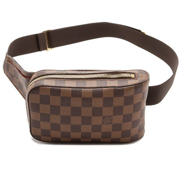An authentic vintage Louis Vuitton waist bag in checkerboard coated canvas. A gold-tone wraparound zip opens the lined interior, and an inset snap pocket hides…