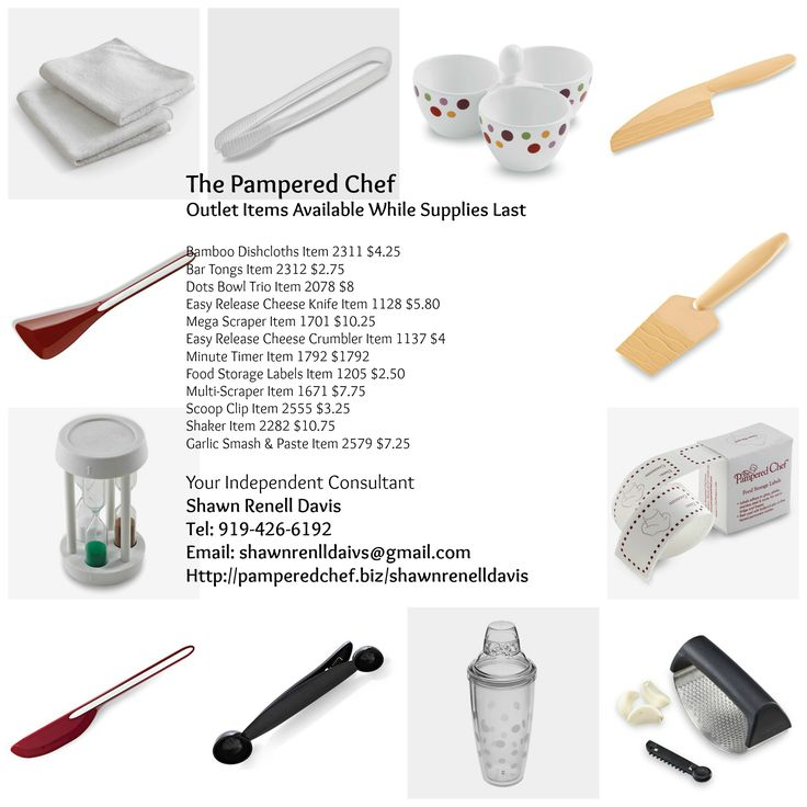 The Pampered Chef - Outlet Sales Awesome gift idea's for upcoming events, especial wedding gifts. Outlet Items Available While Supplies Last. Prices Range from: $2 - $12 (Price Correction Minute Timer is $5.25) Click on the link below: http://www.pamperedchef.com/pws/shawnrenelldavis/search-browse-results?itemType=TPCProduct&searchText=&N=2&browseCategories=&categoryBanner=&Nr=Outlet%3Atrue&Ns=TPCProduct.p_price|0 #pamperedchef #gifts #cheftools