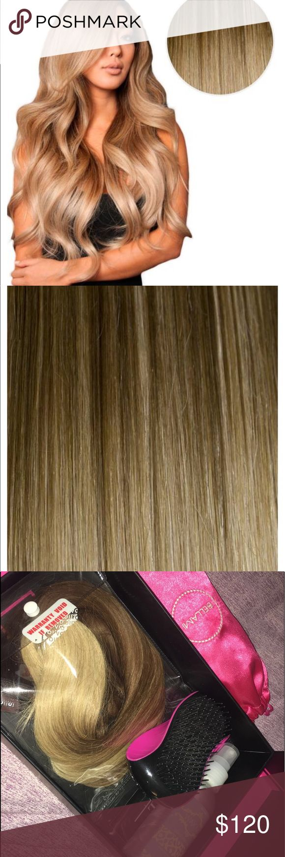 """BALAYAGE 160G 20"""" OMBRE HAIR EXTENSIONS Total weight: 160 grams  Total Pieces: 10 Length: 20 inches Balayage Range Contains: 1 x 8 inch wefts 1 x 7 inch wefts 2 x 6 inch wefts 2 x 4 inch wefts 4 x 1.5 inch wefts BELLAMI Tangle Tamer Brush & BELAMI Travel Hair Straightener Bellami Hair Other"""