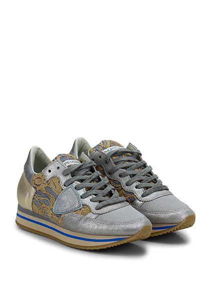 PHILIPPE MODEL PARIS - Sneakers - Donna - Sneaker in pelle laminata, tessuto tecnico e pizzo con logo su lato esterno e suola in gomma. Tacco 35, platform 25 con battuta 10.  - SILVER\BEIGE - € 220.00