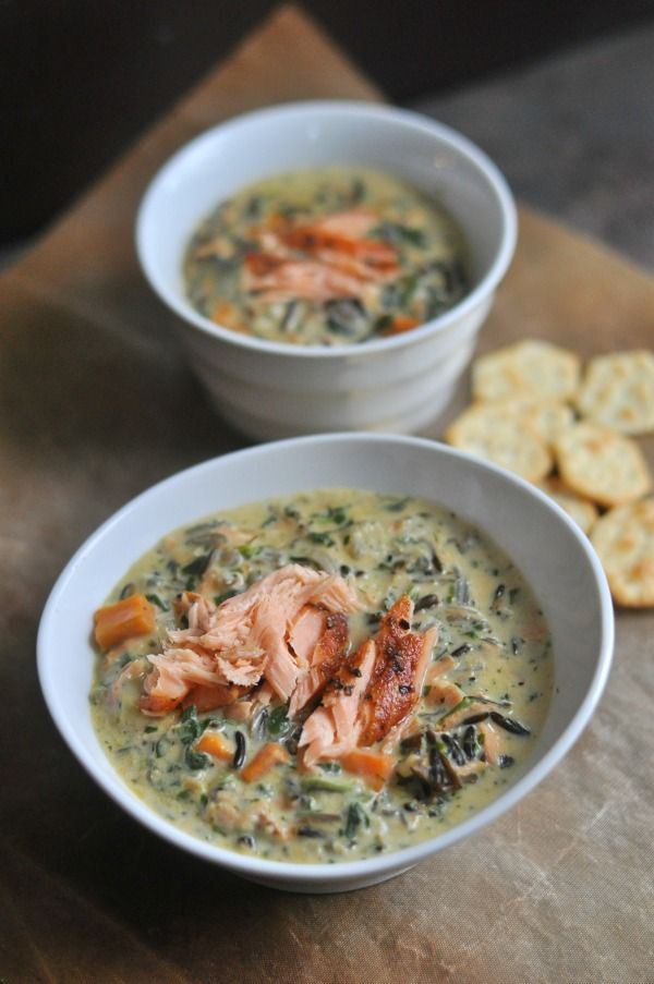 Salmon Wild Rice Soup is a creamy soup recipe filled with flavors of coriander, smoked salmon, Minnesota wild rice and sweet potatoes.The comfort food classic, creamy wild rice soup, gets a new spin with the addition of smoked salmon. Perfect for a cozy winter night or a meal you can share with friends, this soup is a unique way to incorporate salmon into dinner. http://diningwithalice.com/soup/salmon-wild-rice-soup/