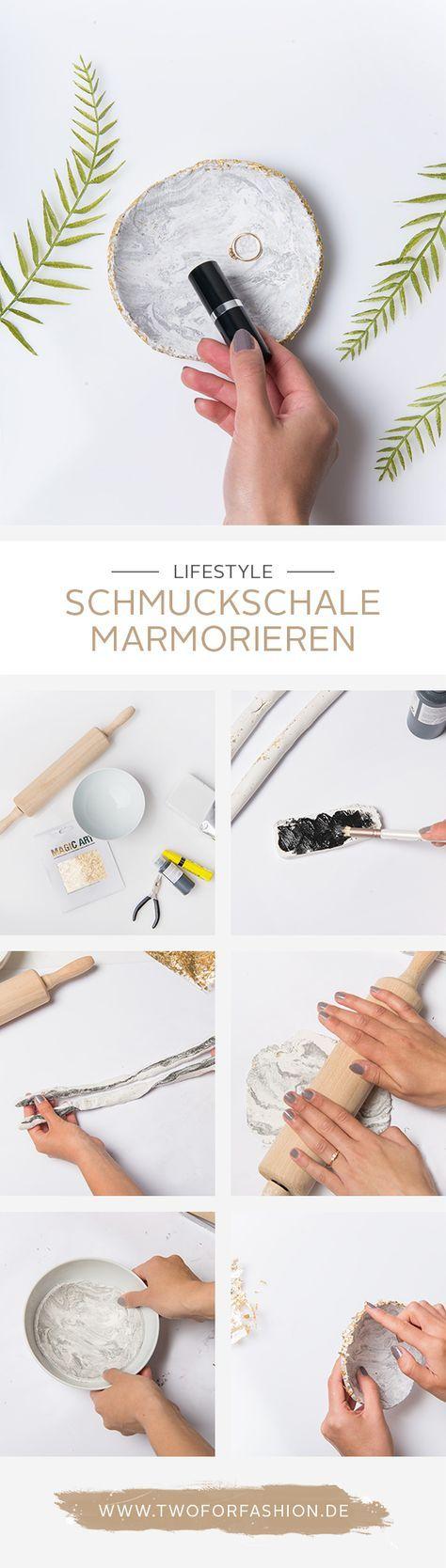 #DIY #schmuckschale #marble #marmorieren #blattgold #trendy #aufbewahrung #organizer #deko Diese wunderschöne Schmuckschale in Marmoroptik mit Godrand könnt ihr euch ganz einfach selber zaubern. Sie eignet sich toll um Ringe, Ohrstecker und anderen filigranen Schmuck abzulegen und zu ordnen. Nachbasteln lohnt sich!