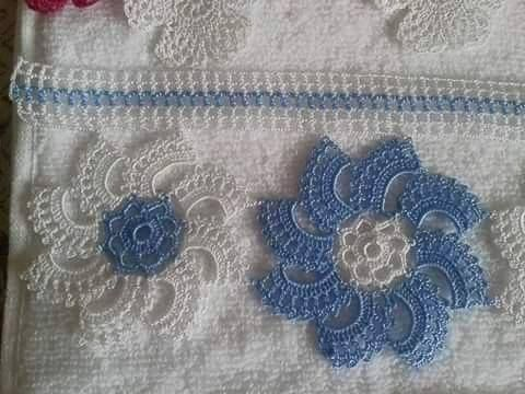Mavi beyaz dantel havlu kenarı | Örgü Modelleri - Örgü Dantel Modelleri