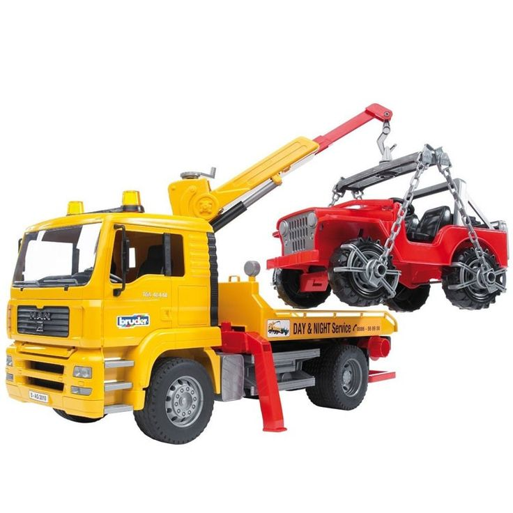This super cool deluxe tow truck and cross country SUV 2-in-1 toy vehicles play set by Bruder MAN TGA series is guaranteed to last and inspire imaginative play for years.