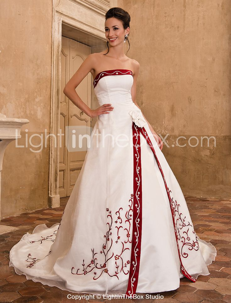 A-line Strapless Sleeveless Organza Satin Chapel Train Wedding Dress