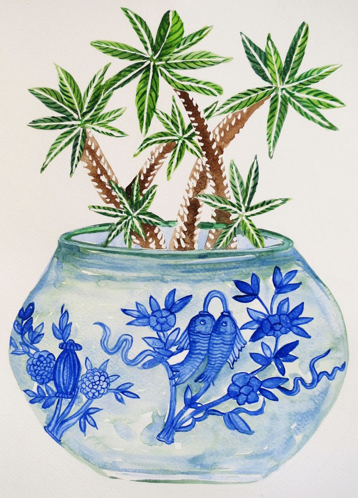 Blue and white, cactus print, cactus illustration, cactus watercolour, succulent print, cactus pot by SavannaLife on Etsy