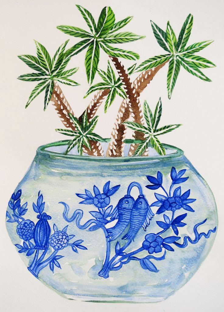 Blue and white, cactus print, cactus illustration, cactus watercolour, succulent print, cactus pot by SavannaLife on Etsy