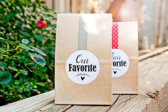 Wedding Favor Stickers - Wedding Favors, Shower Favors - Their Favorite or Our Favorite - 20 Stickers