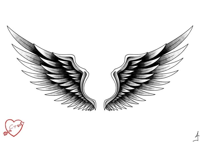 Angel wings motif for tattoos template