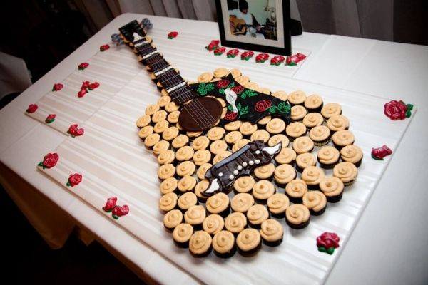 grooms guitar cakes | Pin Guitar Themed Wedding Cake Topper Grooms Bride By Finsnhorns Cake ...