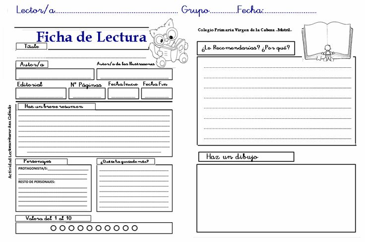 Fichas sobre Lectura de Libros - Tercer, segundo y primer ciclo