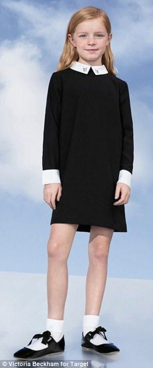 This Peter Pan collar shift dress is available for both daughter and mom.  https://workinglook.com/2017/03/19/catching-spring-fever-with-victoria-beckhams-target-collection/