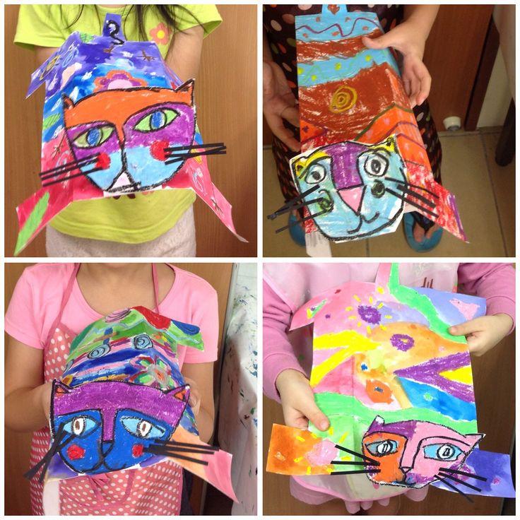 Laurel Burch-inspired cats