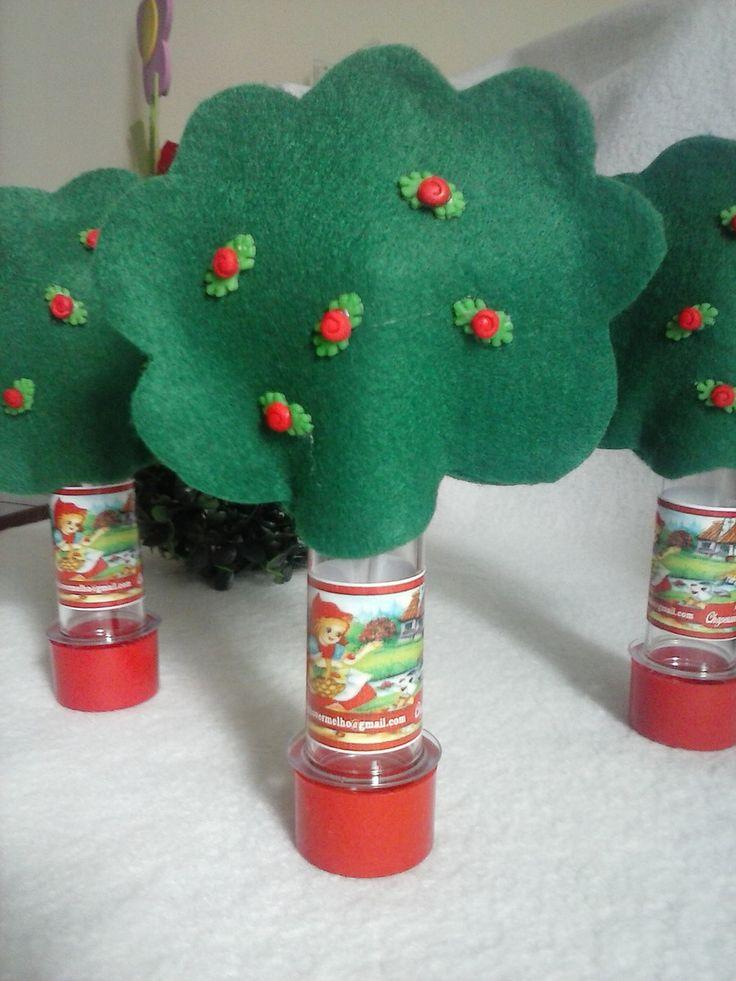 Capinha em feltro, tubete decorado com adesivo personalizado da chapeuzinho vermelho. ( Observação: não companha bala de goma, foto ilustrativa ).
