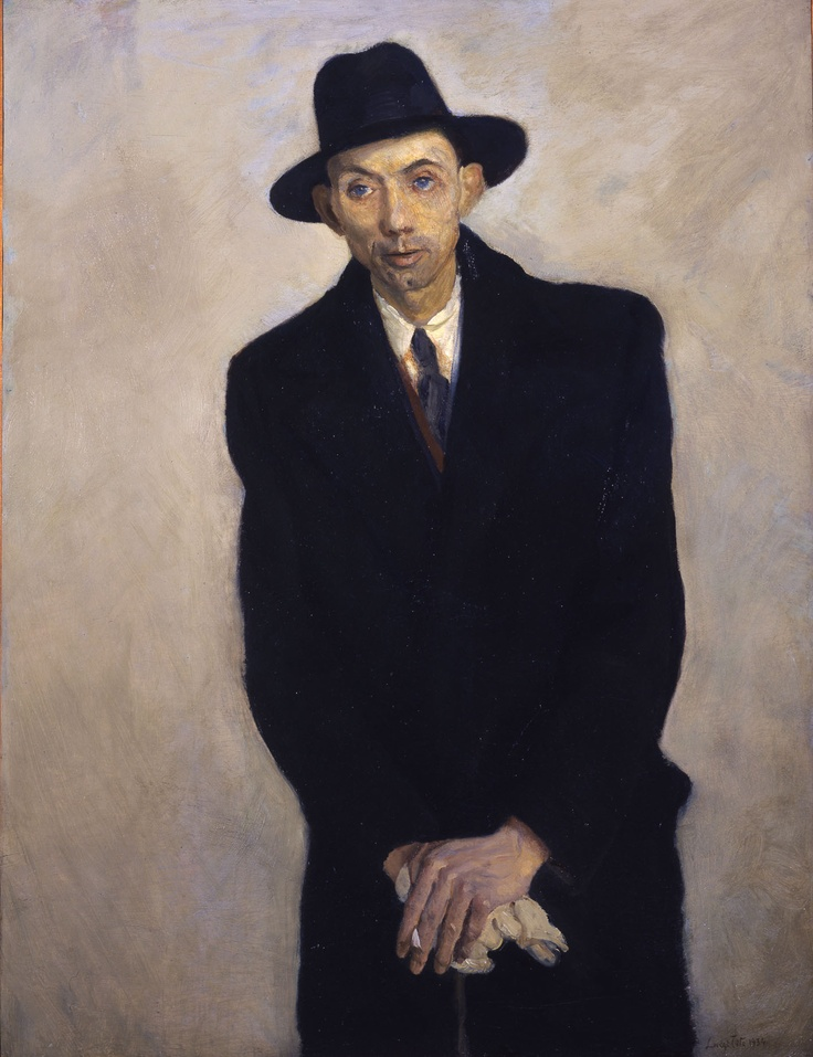 Ritratto di Cagnaccio di San Pietro, 1934 by Luigi Tito. Don't know who the sitter is, but he looks really sinister in his black coat  hat and slowly burning cigarette. This was at the height of Fascism under Mussolini, and he looks like a Fascist spy. However, I'm sure he was a good guy and entirely innocent.