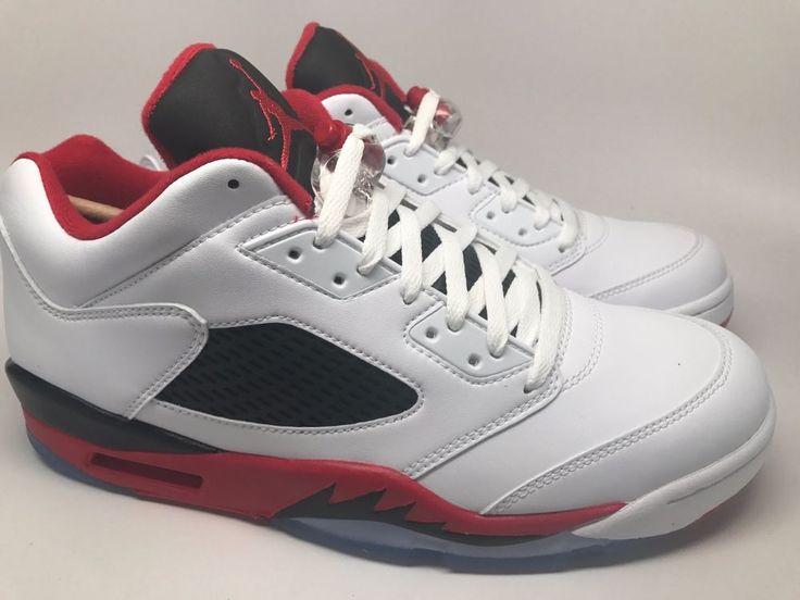 Air Jordan 5 Chaussures Rétro Faible Mens Blanc / Feu Rouge / Noir Flanelle boutique d'expédition pas cher authentique très bon marché Livraison gratuite combien 2015 nouvelle TlcpGvx60