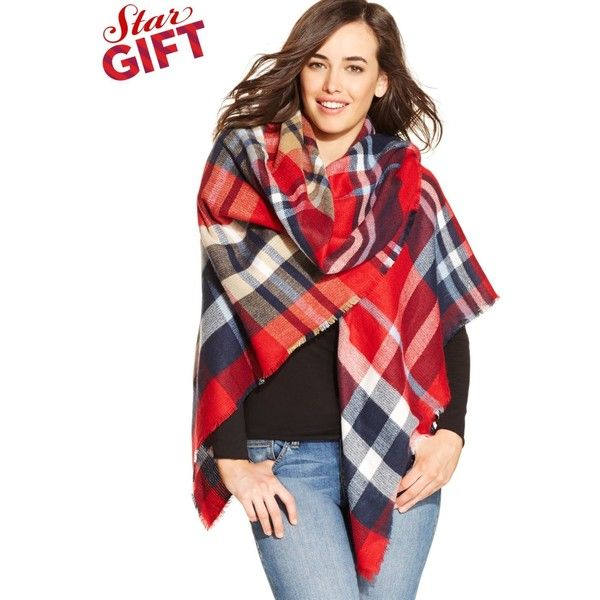 Collection Xiix Southwestern Runway Wrap featuring polyvore, fashion, accessories, scarves, crisp forest, wrap scarves, plaid blanket scarf, collection xiix, tartan shawl and tartan scarves