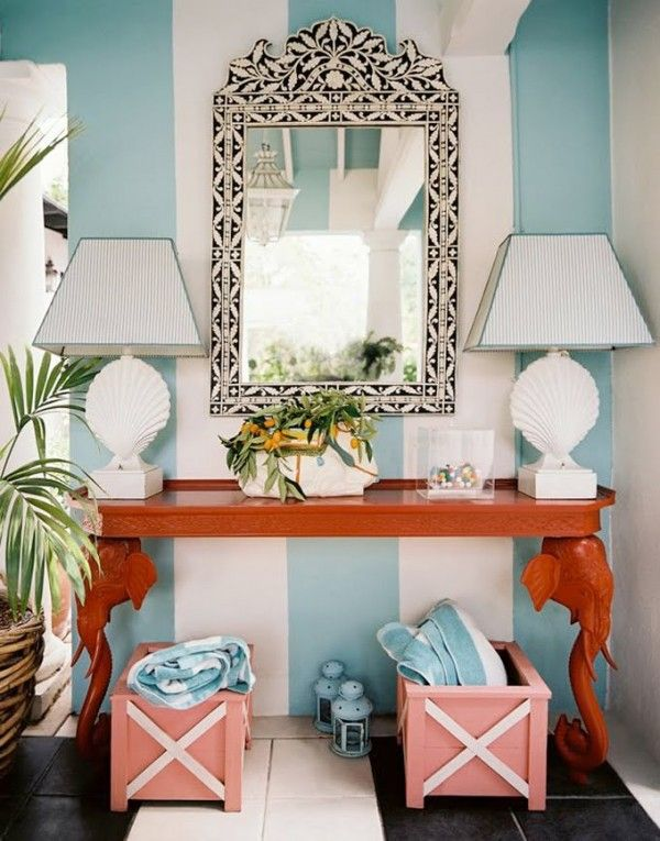 turquoise and coral foyer: Mirror, Decor, Interior, Beach House, Idea, Color, Entryway, Room