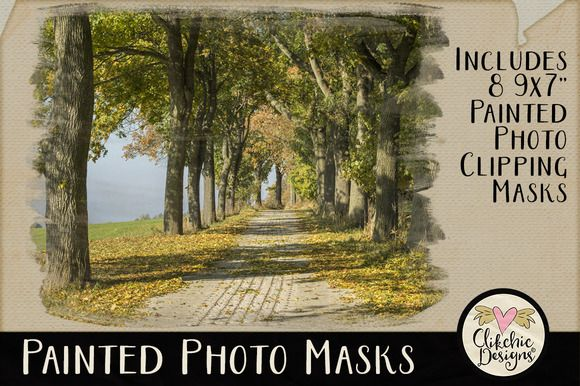 Painted Photo PS Clipping Masks by Clikchic Designs on Creative Market