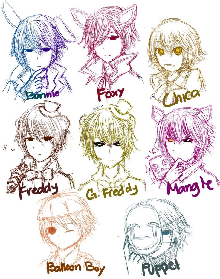 Five Nights at Freddy's 2 as humans                                                                                                                                                                                 Plus