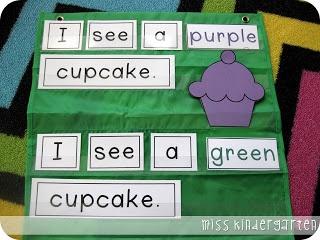 Miss Kindergarten: Colorful Cupcakes {literacy center}