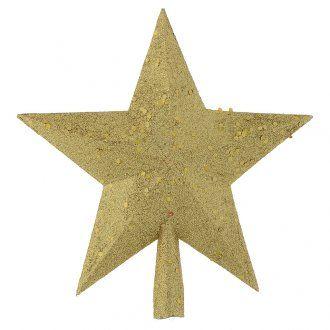 Punta del Árbol de navidad estrella con brillantina dorada [PR001664] - €4.39 : HolyartEl primer comercio electrónico de artículos religiosos