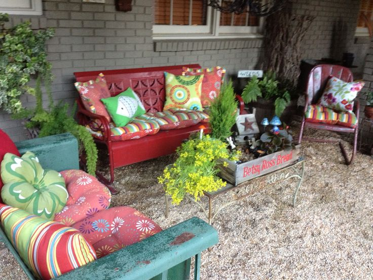 Vintage patio furniture. Love the bright colors.