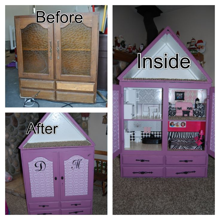 Diy barbie house convert a cupboard into a barbie house What can i put on my sideboard
