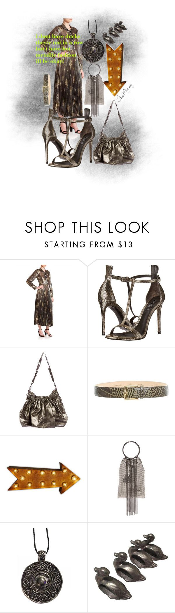 """""""metallic olives & browns"""" by caroline-buster-brown ❤ liked on Polyvore featuring SUNO New York, Rachel Zoe, Marc Jacobs, Longchamp and Whiting & Davis"""