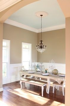 dining room walls (light brown on top, white on bottom)