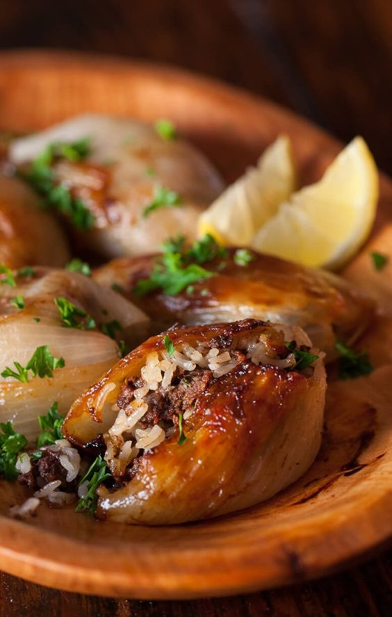 """LAMB & RICE-STUFFED ONIONS ~~~ this recipe is shared from the book, """"the food and cooking of the middle east."""" [Lebanon] Ghillie Basan] [steamykitchen]"""