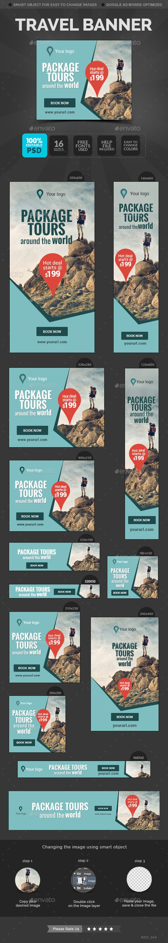 Travel Banners Template #design Download: http://graphicriver.net/item/travel-banners/11759316?ref=ksioks