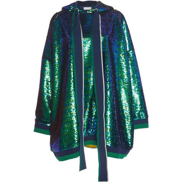Mira Mikati Hooded Sequin Dress ($1,015) ❤ liked on Polyvore featuring dresses, green, sequin embellished dress, rib knit dress, sequin dresses, oversized dress and green sequin dress