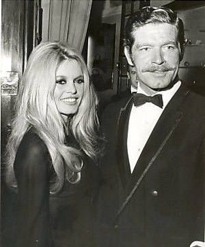 Brigitte Bardot and actor Stephen Boyd at the premiere of Shalako,Munich, 13 October, 1968.