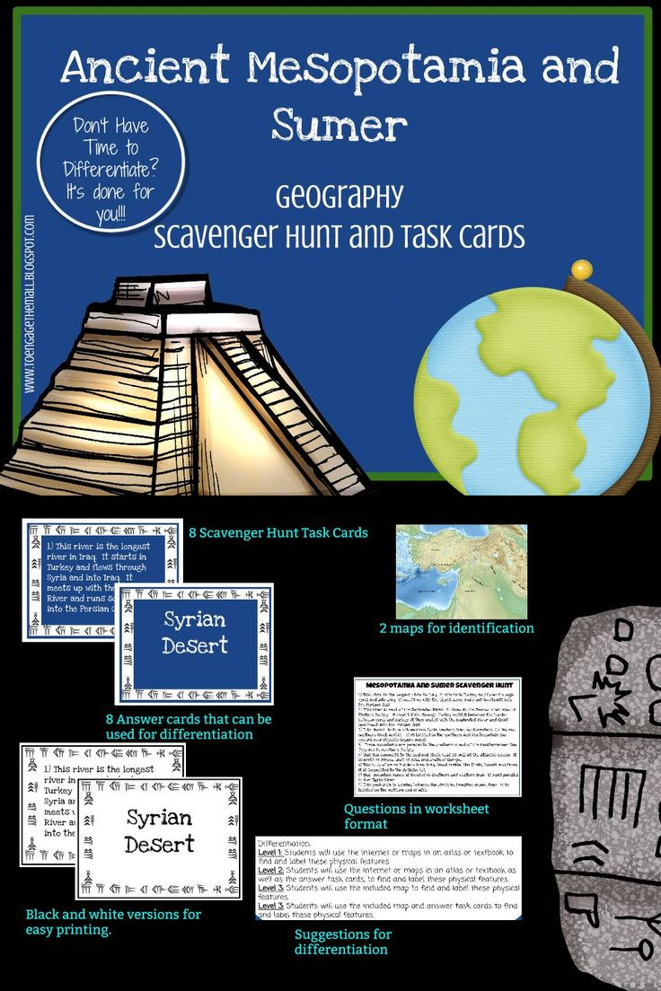 Historic Mesopotamia and Sumer Geography Scavenger Hunt and Activity Playing cards
