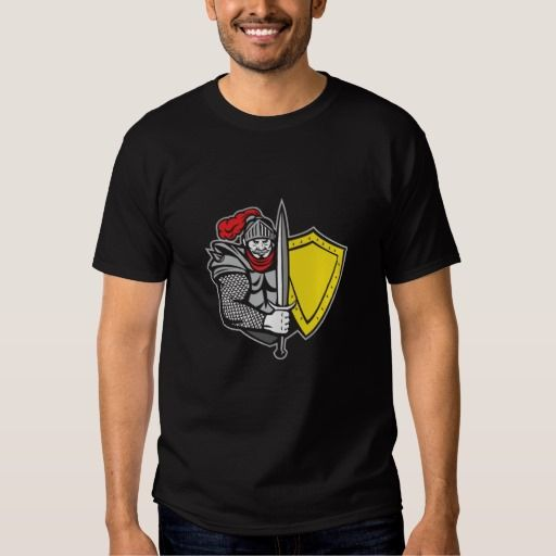 Knight Full Armor Open Visor Sword Shield Retro T Shirt. Illustration of a knight in full armor with open visor holding sword and shield viewed from the front set on isolated white background done in retro style. #Illustration #KnightFullArmorOpenVisor