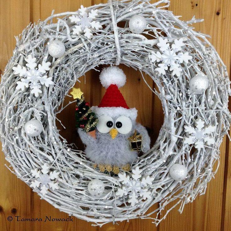 Купить Новогодний венок с совой - дизайн интерьера, венок на дверь, венок на стену, интерьерная подвеска