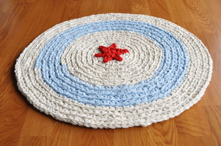crochet rug with fabric