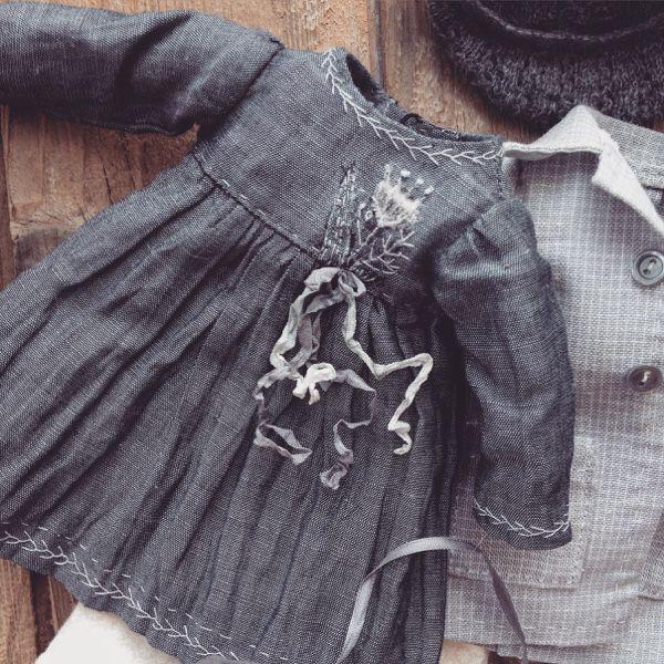 Купить Кукла в платье с вышивкой - серый, текстильная кукла, авторская ручная работа