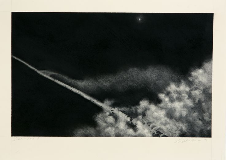 'Crash and Burn' one of a series of charcoal drawings based on the SPACE RACE.  Copyright Pip Dickens
