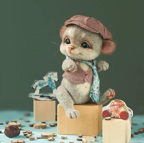 Amazing Needle felting wool animals mouse(Via nata_kravtsova)