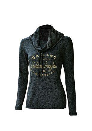 Oakland University Golden Grizzlies Womens Black Jewel Cowl Hoodie
