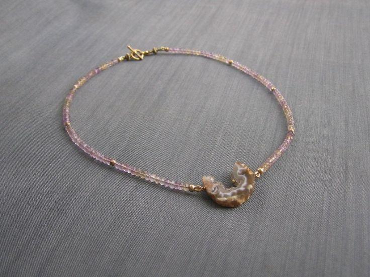 """Колье """"Singsong lilac"""" из аметринов с друзой агата в магазине «S E R N A jewelry» на Ламбада-маркете"""