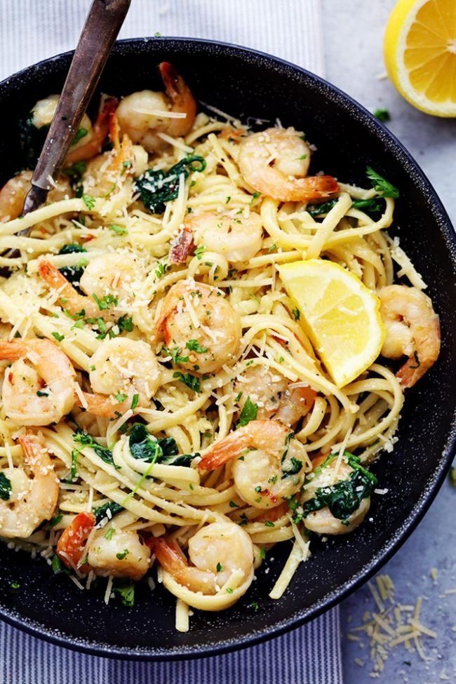 Lemon Butter Garlic Parmesan Shrimp Pasta (keto) - pasta, olive oil, butter, garlic, red pepper flakes, shrimp, salt/pepper, Italian seasoning, spinach, Parmesan cheese, parsley and lemon juice
