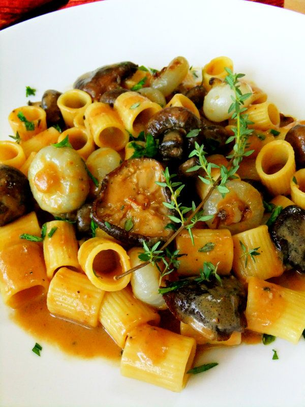 Creamy Mushroom Marsala with Rigatoni, Cipollini, Mascarpone, Garlic, Thyme and Parsley.
