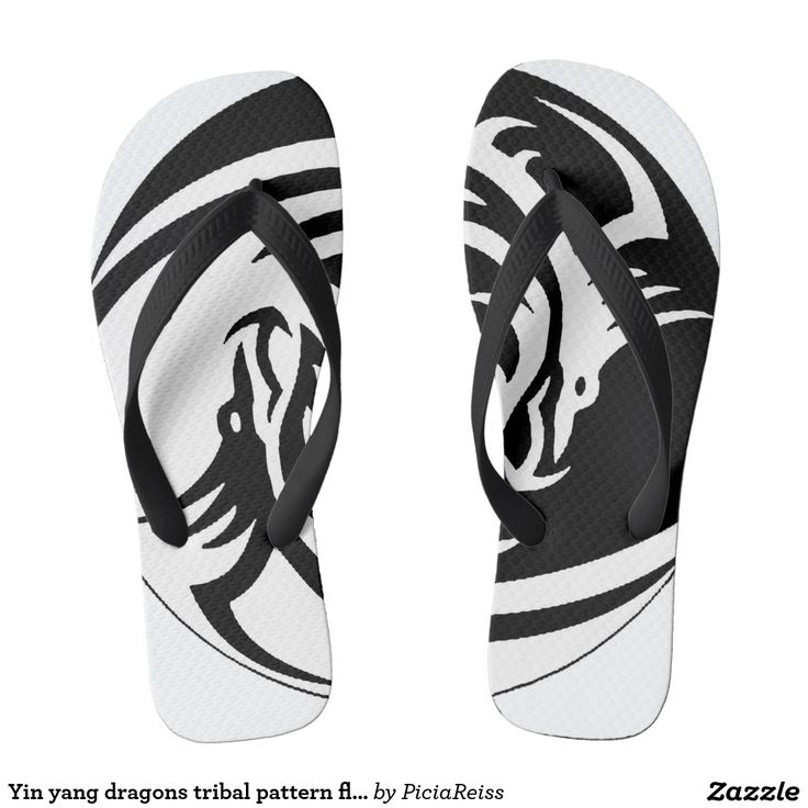 Yin yang dragons tribal pattern flip flops b&w