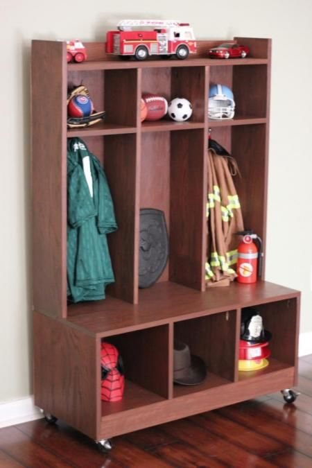 DIY cubby/locker system from Ana White. I love her and I love this! My garage needs two of these...