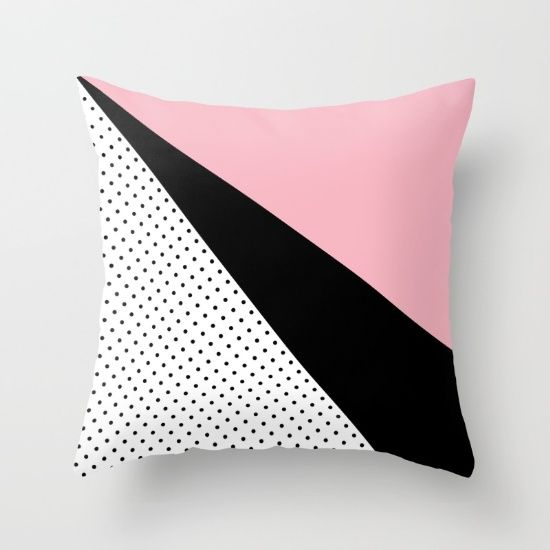 Black Pink Dot Throw Pillow