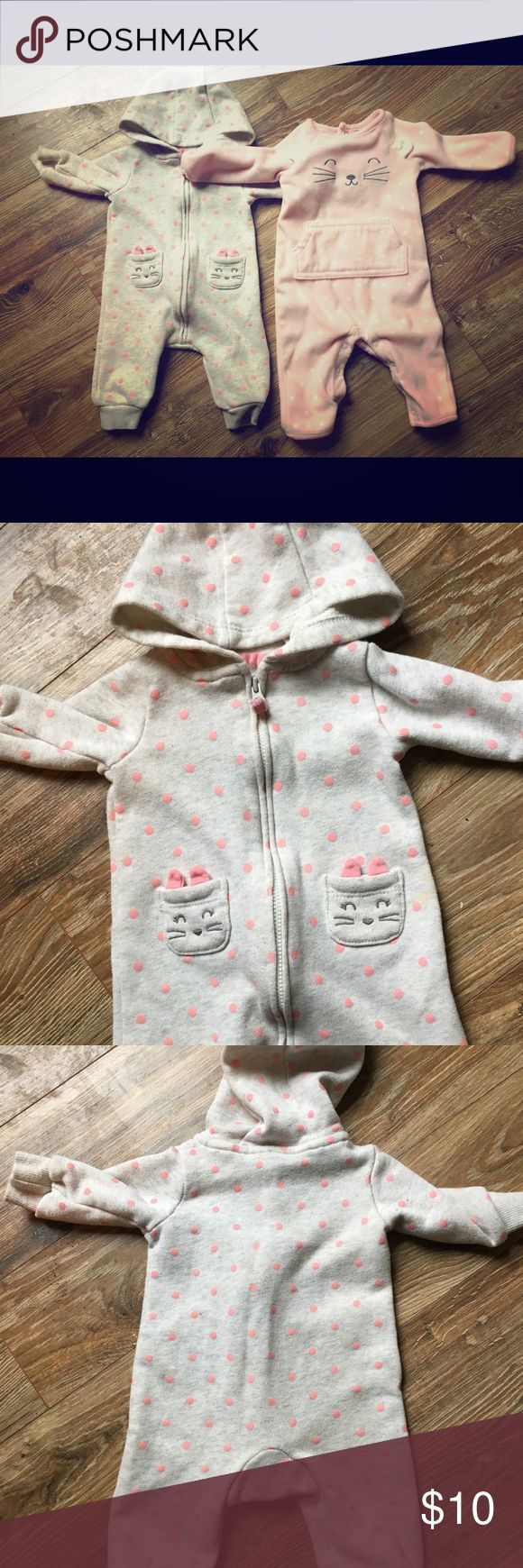 Baby Girl one piece fleece outfit Cute baby girl one piece outfits.  Grey outfit is 60% cotton and 40% polyester.  Pink one piece is 100% polyester. Carter's One Pieces Bodysuits