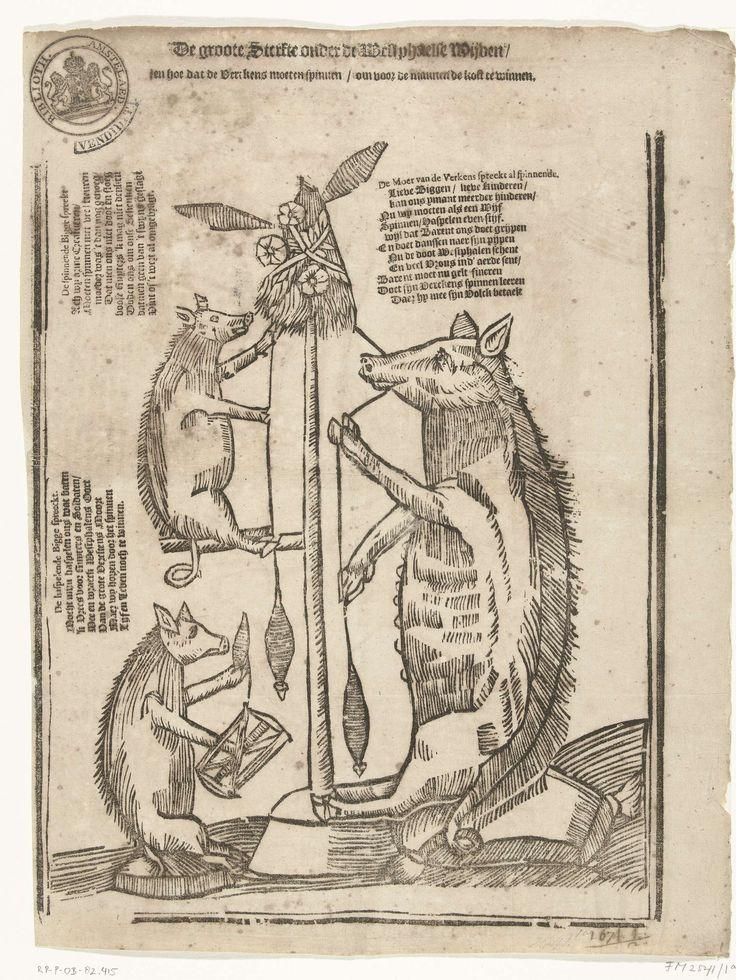 Varkens die spinnen, 1673, anoniem, 1673. Spinning sow.